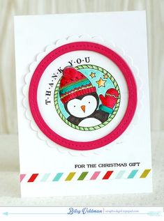 Penguin Thank You Card by Betsy Veldman for Papertrey Ink (November 2014)