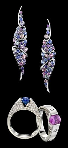 Omni ring is sleek and refined. A stylish token of love. The featuring royal blue and pink sapphires with diamonds. Shown with Pavoni Sapphire earrings. Pink Sapphire Ring, Sapphire Jewelry, Sapphire Earrings, Gemstone Jewelry, Diamond Jewelry, Modern Jewelry, Jewelry Art, Jewelry Design, Designer Jewelry