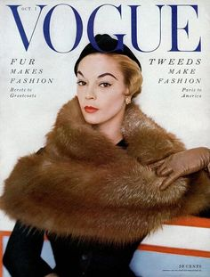a-vogue-cover-of-jean-patchett-wearing-a-fur-wrap-horst-p-horst - Jean Patchett cover Vogue October 1 1953 photo Horst P. Horst