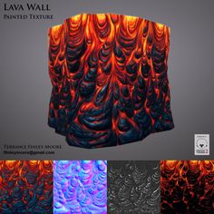 Hand painted pāhoehoe lava texture with emissive map.