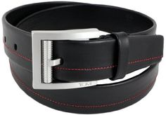 TUMI Black Leather Belt with RED Stitch Mens & Gift Box (38) TUMI. $63.00