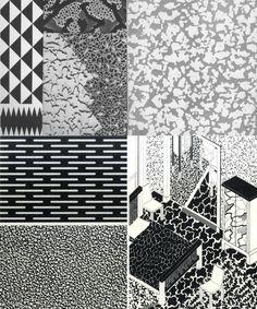 Ettore Sottsass & Michele De Lucchi & George Sowden, Textures, 1981. For Abet Laminati. Memphis Milano. Via aisdesign