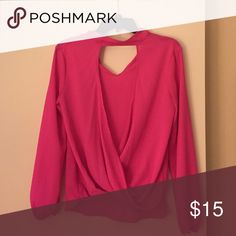 Bright pink long sleeve (polyester) Super cute, bright pink opens in front, long sleeve, size Small Necessary Clothing Tops Blouses