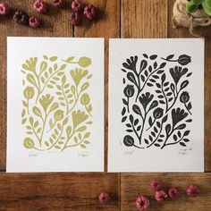 Floral lino print hand printed