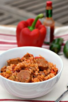 Rice, Veggies, and just the right Spice makes this Vegan Jambalaya a must try. Add in my Andouille Sausage and you can almost hear the Bourbon Street Jazz! Veggie Recipes, Whole Food Recipes, Vegetarian Recipes, Healthy Recipes, Veggie Meals, Donut Recipes, Vegan Jambalaya, Jambalaya Recipe, Sausage Jambalaya