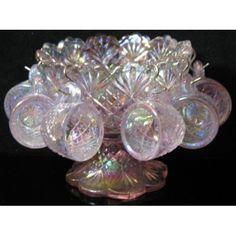 Miniature 4 Lavender Carnival Glass Punch Bowl Set: Everything Else