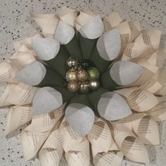 Christmas paper and book page wreath