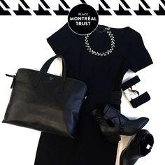 #PMTLook Robe/Dress Love Moschino - Winners, 199,99 $ Bottes/Boots Shellys London - Little Burgundy, 160,00 $ Collier/Necklace - Zara, 15,99 $ (en solde) Mallette/Briefcase - Fossil, 298,00 $ Collant noir/Black tights - Smart Set, 12,90 $