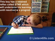 If your child lays their head on the desk or their non-writing arm while they are writing or drawing, they have a retained reflex called Symmetric Tonic Neck Reflex (STNR). This undermines  learning and can be resolved with a program of simple movement exercises.