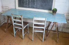 Industrial Vintage Wooden Timber Trestle Table Rustic Desk or Work Bench