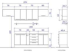 Resultado de imagem para dimensões de armarios de cozinha