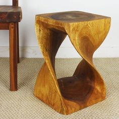 Twist Stool 12x12x18 inch H Sust Monkey Pod Wood in Eco Friendly Livos Oak Oil F - 11 Main