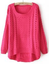 Rose+Red+Round+Neck+Long+Sleeve+Hollow+Asymmetric+Sweater+US$24.32