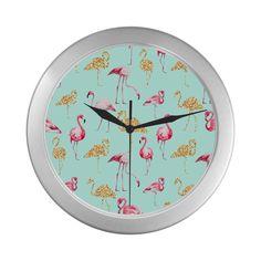 Flamingo (blue) Silver Color Wall Clock
