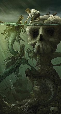 Evil Mermaids, Fantasy Mermaids, Mermaids And Mermen, Mermaid Artwork, Mermaid Drawings, Fantasy Kunst, Dark Fantasy Art, Mythical Creatures Art, Fantasy Creatures