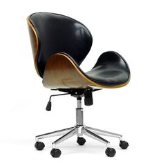 A walnut effect plywood frame houses a lightly-padded black faux leather seat and sits atop a base made of chrome-plated steel and black plastic casters. Covetable height-adjustment and 360 degree swivel features are included.