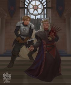 Jaime lannister and aerys targaryen. The kingslayer Arte Game Of Thrones, Game Of Thrones Artwork, Game Of Thrones Books, Game Of Thrones Fans, Jaime Lannister, Got Dragons, Fan Art, Fire And Ice, Costumes