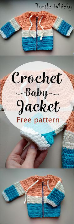 How to Crochet Baby Jacket with Zipper free pattern | Turtle Whicky Crochet | Home