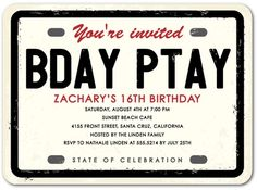 License Plate - Birthday Party Invitations - Hello Little One - Ecru - Neutral : Front