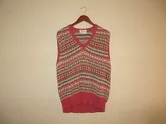 vintage 1980s orange & multicolored mens sweater vest by mellowrabbit, $24.00