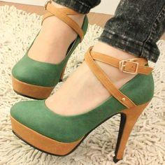 Hermosos Zapatos Altos Con Plataforma Con Detalles De Correa ...
