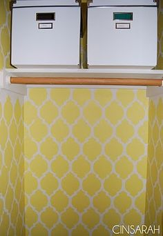 Coat closet makeover- great space to use a fun and funky stencil and paint color