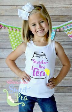 Sweeter Than Tea Tank, Girl's Tank Top, Toddle tank Top, Southern Girl, Country Life, Sweet Tea, Birthday Gift, Summertime, Country Girl by TennesseeSweetPea on Etsy