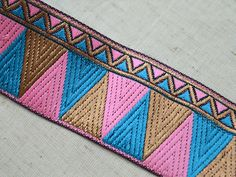 30mm turquoise blue GOLD metallic embroidered ribbon applique motif trim Indian