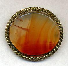 Antique Victorian Agate Brooch Pin Vintage Scottish via Etsy