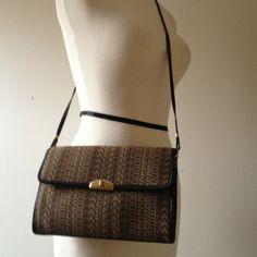 vintage 1970s Pierre Cardin logo purse  baguette bag  woven top handle shoulder bag