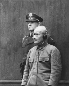 General Hideki Tojo, effective ruler of Japan during the war, hears his death sentence at the conclusion of his trial as a war criminal, 1948.