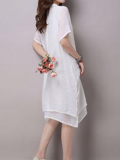 Folk Style Women Lotus Flower Printing Irregular Split Hem Dress at Banggood