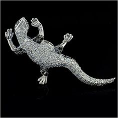 Cubic-zirconia Rhodium Finish Sterling Silver Gecko Pin CoolStyles.com. $44.66. Save 47% Off!