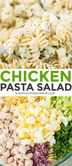 Easy Chicken Salad Recipe This Chicken Pasta salad is full of flavor and easy to make! Make for potlucks, parties, or even to go with lunch and dinner. Also find out how you can help Feeding America by shopping at your local Stop and Shop! Chicken Pasta Salad Recipes, Salad Chicken, Macaroni Salad With Chicken, Chicken Pasta Easy, Pasta Recipes For Dinner, Cold Pasta Recipes, Salad Recipes For Parties, Recipe Chicken, Pasta Salat