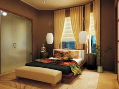 Modern Asian Decor   ... Modern Bedroom Color Decorating Design Ideas Small and Contemporary