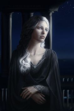 """Nienna, The Mourning Vala from the Silmarillion: """"Nienna looked at the pale Moon under the shadow of her distant halls. She remembered the glory of the Two Trees and all the pain that Melkor caused by his greed and envy. But in silence she recalled the Music of The Ainur and how Melkor's actions were present even there, as a terrible melody in the middle of unfolding mysteries. And as she revived the Music in her thoughts, her sorrow grew but so did her compassion."""""""