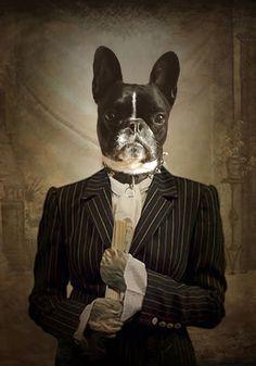Sacha Stellie: Un univers en images Dog Canvas Painting, Old Pug, Animal Dress Up, Dog Artwork, Cat People, Animal Heads, Dog Portraits, Dog Love, Boston Terrier