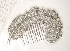 1920s Downton Abbey Feather Hair Comb, Vintage Rhinestone Leaf Headpiece, Art Deco Clear Crystal Silver Plume Accessory, Large Head Piece by AmoreTreasure