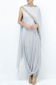 Kurtas and Sets Clothing Carma Pale grey draped kurta with churidaar Indian Gowns, Indian Attire, Indian Outfits, Indian Clothes, Drape Gowns, Draped Dress, Indian Designer Outfits, Designer Dresses, Indian Designers