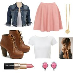 A fashion look from February 2014 featuring cropped denim jacket, pull on skirts and platform booties. Browse and shop related looks. Teenage Outfits, Outfits For Teens, New Outfits, Cool Outfits, Casual Outfits, Fashion Outfits, School Fashion, Teen Fashion, Love Fashion