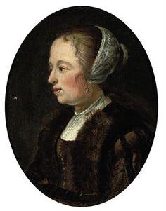 Naar Gerard Dou: Portret van een vrouw in vliegerkostuum, en-profil. na ca. 1635. Christie's, Londen. Naar Dou's werk met dezelfde titel uit ca. 1635-1640.