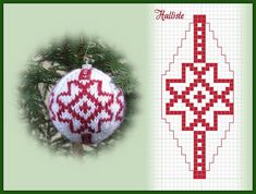 Knitted Christmas Decorations, Quilted Christmas Ornaments, Christmas Cross, Christmas Baubles, Crochet Ball, Bead Crochet, Fair Isle Chart, Christmas Wonderland, Knitting Charts