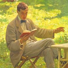 Sir Alfred James Munnings Reading, Dame Laura Knight. English Impressionist Painter (1877 - 1970)