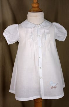 Creations By Michie` Blog - white dress with blue collar and embroidery