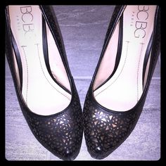BCBG  geometric black and gold high heels These stunning heels are BCBG and feature a black and gold geometric pattern. Make a statement by pairing these must haves with a short mini. BCBG Shoes Heels