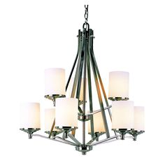 Nickel with Frosted Cylinder 2 Tier Chandelier