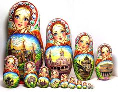 FREE SHIPPING Nesting Doll 15pcs 13 in 35cm. by Viktoriyasshop