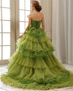 Organza Layered Green 2013 Princess Ball Gown Wedding Dress