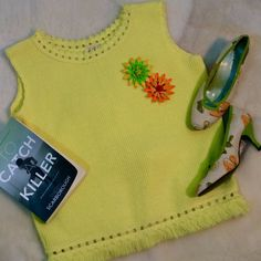 """Vintage 1960's Mod Retro Yellow Mister Marty of California Sleeveless Sweater This sweater is perfect to dress up or to just wear with jeans. No stains or damage.  The sweater has no size indicator but is a M/L  Approx measurements laying flat  Collar to Sleeve opening 4"""" Across Chest pit to pit 21.5"""" Length from back of collar to bottom of fringe 21"""""""