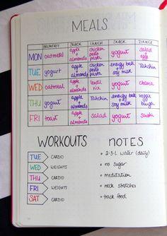 { Weekly meal plan } via www.elleisforlove.com #BulletJournal #BuJo #MealPlan #dietworkout